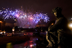 Rain and fog obscured most of the firework display over the Rocky Steps and Philadelphia Art Museum during the Grande Finale of the July 4th, 2016 Wawa Welcome America concert, on the Benjamin Franklin Parkway, in Center City, Philadelphia, Pennsylvania.