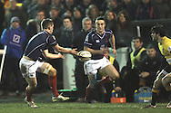 Jamie Stevenson and Miles Mantella in action during the Green King IPA Championship match between London Scottish &amp; Cornish Pirates at Richmond, Greater London on 16th January 2015<br /> <br /> Photo: Ken Sparks | UK Sports Pics Ltd<br /> London Scottish v Cornish Pirates, Green King IPA Championship, 16h January 2015<br /> <br /> &copy; UK Sports Pics Ltd. FA Accredited. Football League Licence No:  FL14/15/P5700.Football Conference Licence No: PCONF 051/14 Tel +44(0)7968 045353. email ken@uksportspics.co.uk, 7 Leslie Park Road, East Croydon, Surrey CR0 6TN. Credit UK Sports Pics Ltd