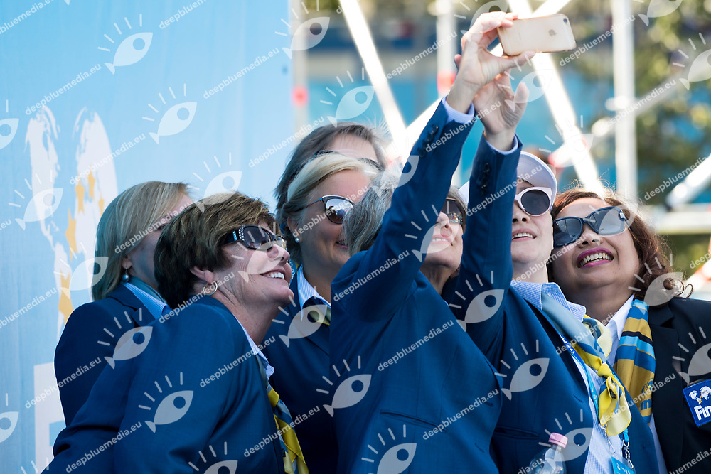 Judges<br /> Synchronised swimming , Synchro<br /> mixed duet tecnhical final<br /> 17/07/2017 <br /> XVII FINA World Championships Aquatics<br /> City Park - Varosliget Lake<br /> Photo @ Giorgio Perottino/Deepbluemedia/Insidefoto