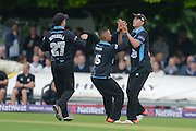 Brett D'Oliveira Ed Barnard during the NatWest T20 Blast Quarter Final match between Worcestershire County Cricket Club and Hampshire County Cricket Club at New Road, Worcester, United Kingdom on 14 August 2015. Photo by David Vokes.