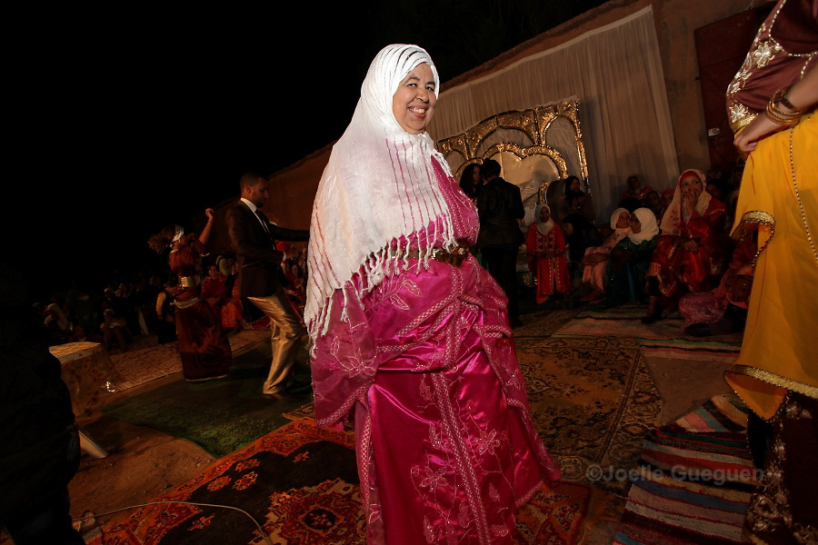 Relatives of the newly weds Sokaina and Omar  enjoy  their wedding in Tikirt Village South East Morocco