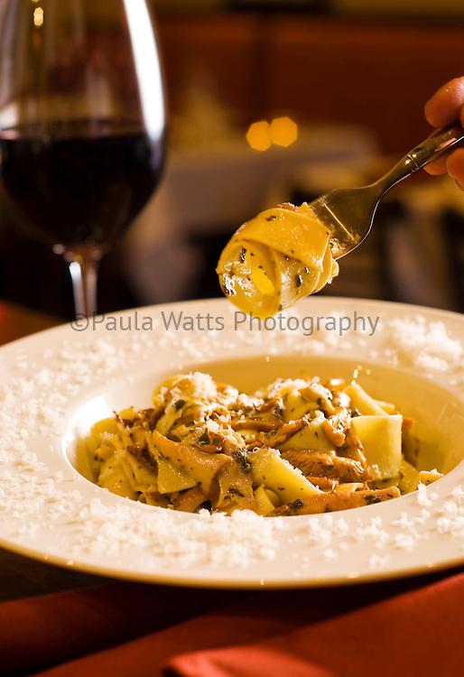 Italian chanterelle mushroom pasta at Italian restaurant