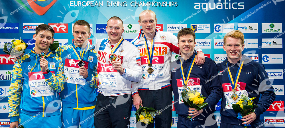 ZAKHAROV Ilia, KUZNETSOV Evgenii RUS Gold Medal<br /> KVASHA Illya, KOLODIY Oleg UKR Silver Medal<br /> WOODWARD Frederick, HEATLY James GBR Bronze Medal<br /> 3m Synchronised Men Final<br /> LEN European Diving Championships 2017<br /> Sport Center LIKO, Kiev UKR<br /> Jun 12 - 18, 2017<br /> Day06 17-06-2017<br /> Photo &copy; Giorgio Scala/Deepbluemedia/Insidefoto