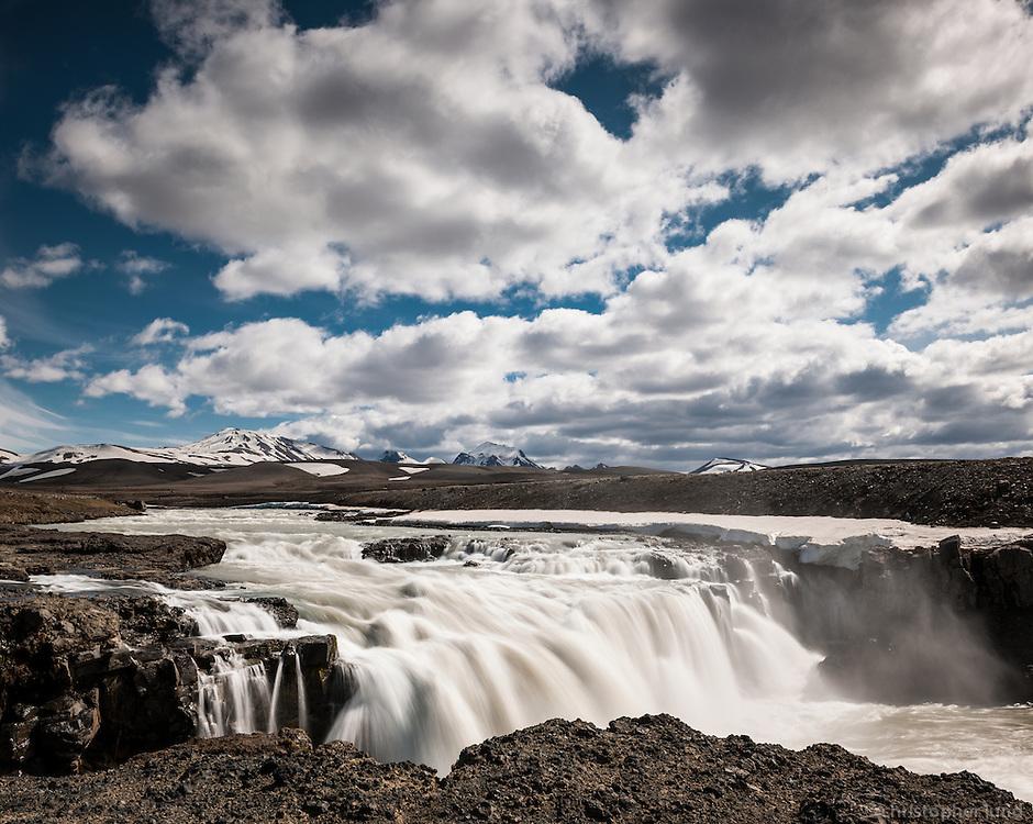 Gýgjarfoss waterfall in Jökulfall glacier river, which originates in Glacier Hofsjökull. Interior of Iceland.