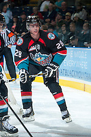 KELOWNA, CANADA - OCTOBER 19: Joe Gatenby #28 of the Kelowna Rockets skates on the ice against the Prince George Cougas on October 19, 2013 at Prospera Place in Kelowna, British Columbia, Canada.   (Photo by Marissa Baecker/Shoot the Breeze)  ***  Local Caption  ***