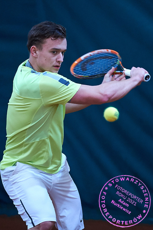 Junior tennis player Patryk Krolik during training session at Deski Tennis Club on March 11, 2015 in Warsaw, Poland<br /> Poland, Warsaw, March 11, 2015<br /> <br /> Picture also available in RAW (NEF) or TIFF format on special request.<br /> <br /> For editorial use only. Any commercial or promotional use requires permission.<br /> <br /> Mandatory credit:<br /> Photo by &copy; Adam Nurkiewicz / Mediasport