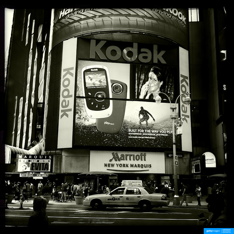 Iphone hipstamatic images of the Kodak advertising in Time Square, New York. Kodak filed for bankruptcy earlier this year after failing to embrace the digital revolution. New York, USA. 21st April 2012. Photo Tim Clayton