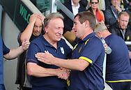 Nigel Clough of Burton Albion and Neil Warnock of Cardiff City during the Sky Bet Championship match at the Pirelli Stadium, Burton upon Trent<br /> Picture by Mike Griffiths/Focus Images Ltd +44 7766 223933<br /> 05/08/2017