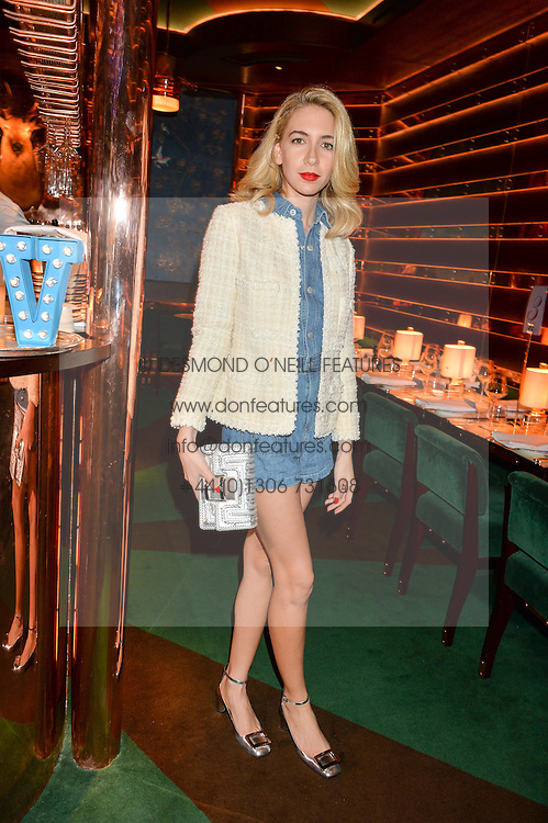SABINE GETTY at a dinner hosted by Roger Vivier to celebrate The Prismick Denim by Camillle Seydoux held at Casa Cruz, 123 Clarendon Road, London on 17th March 2016.