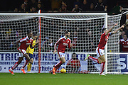 Swindon Town defender Raphael Rossi-Branco (right) celebrates his goal during the Sky Bet League 1 match between Swindon Town and Scunthorpe United at the County Ground, Swindon, England on 14 November 2015. Photo by Mark Davies.