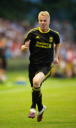 ZUG, SWITZERLAND - Wednesday, July 21, 2010: Liverpool's Lauri Dalla-Valle in action against Grasshopper Club Zurich during the Reds' first preseason match of the 2010/2011 season at the Herti Stadium. (Pic by David Rawcliffe/Propaganda)
