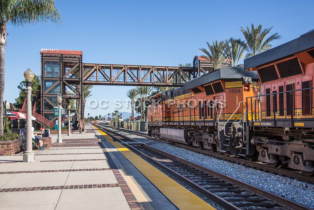 BNSF Railroad Train Stopped at Track 1 Platform at Fullerton Transportation Center