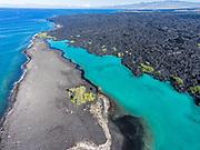 Aerial photograph of Kiholo Bay, Big Island (Hawaii Island), Hawaii