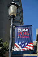 Hempstead, New York, USA. September 13, 2016. On old-fashioned lamppost is Hofstra University Debate 2016 banner in patriotic red white and blue, is one of many displayed on the campus of Hofstra University, which will host the first Presidential Debate, between H.R. Clinton and D. J. Trump, scheduled for later that month on September 26. Hofstra is first university ever selected for 3 consecutive U.S. presidential debates.