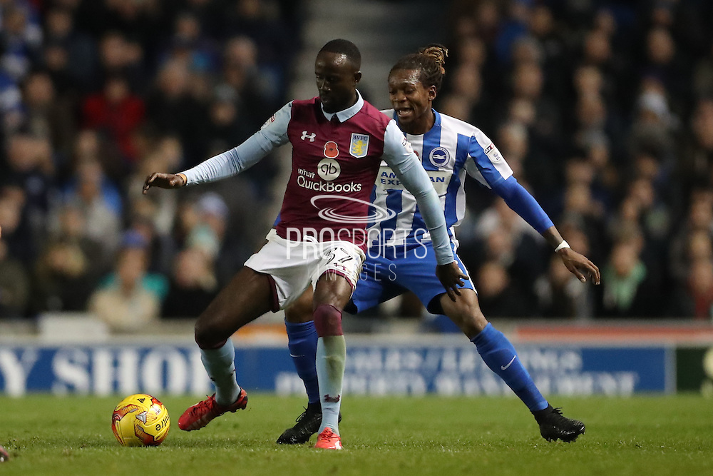 Aston Villa midfielder Albert Adomah (37) during the EFL Sky Bet Championship match between Brighton and Hove Albion and Aston Villa at the American Express Community Stadium, Brighton and Hove, England on 18 November 2016.