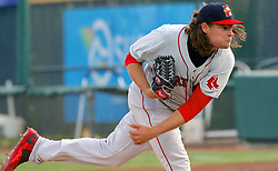 May 19, 2017 - Trenton, New Jersey, U.S - With his long, curly locks flying, TREY BALL, the starting pitcher tonight for the Portland Sea Dogs, throws a pitch in the game vs. the Trenton Thunder at ARM & HAMMER Park. (Credit Image: © Staton Rabin via ZUMA Wire)