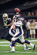 NEW ORLEANS, LA - NOVEMBER 13:  Trevor Siemian #13 of the Denver Broncos throws a pass during a game against the New Orleans Saints at Mercedes-Benz Superdome on November 13, 2016 in New Orleans, Louisiana.  The Broncos defeated the Saints 25-23.  (Photo by Wesley Hitt/Getty Images) *** Local Caption *** Trevor Siemian