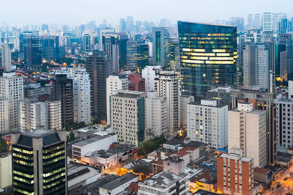 Panoramic view of Sao Paulo at dusk, Brazil, South America