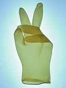 rubber glove with a peace gesture
