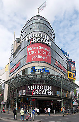 Exterior view of modern Arcaden shopping centre on Karl Marx Street in Neukolln district of Berlin Germany