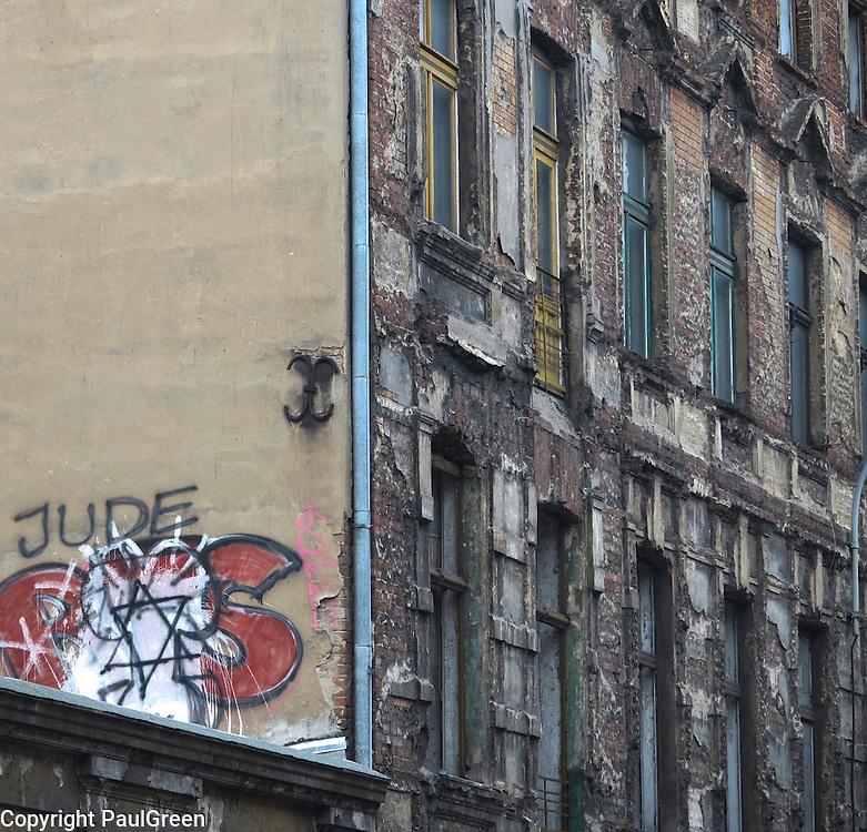 Racist Graffiti,Lodz,Poland Autumn-winter 2012,photography by Paul Green,paul@paulgreenphotovideoart.com ,Lodz Jewish Cemetery,radegast station,Lodz Ghetto,litzmannstadt Ghetto,Łódź,Holocaust,transport lists,nazi,communism