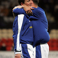 Partick Thistle v St Johnstone..04.12.04<br />Chris Hay is hugged by Ian Maxwell after scoring <br /><br />Picture by Graeme Hart.<br />Copyright Perthshire Picture Agency<br />Tel: 01738 623350  Mobile: 07990 594431