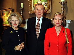 Left to right, LORD & LADY MARSHALL and their daughter the HON.MRS BIRKETT, at a reception in London on 5th October 1999.MXE 12
