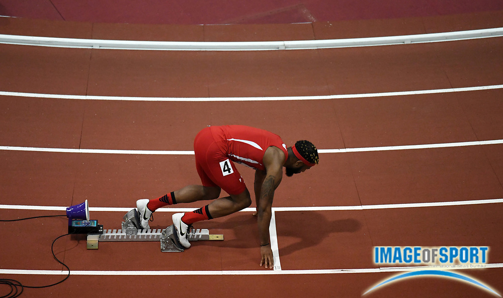Mar 4, 2017; Albuquerque, NM, USA: Brycen Spratling in the staring blocks of a 300m heat during the USA Indoor Championships at Albuquerque Convention Center.