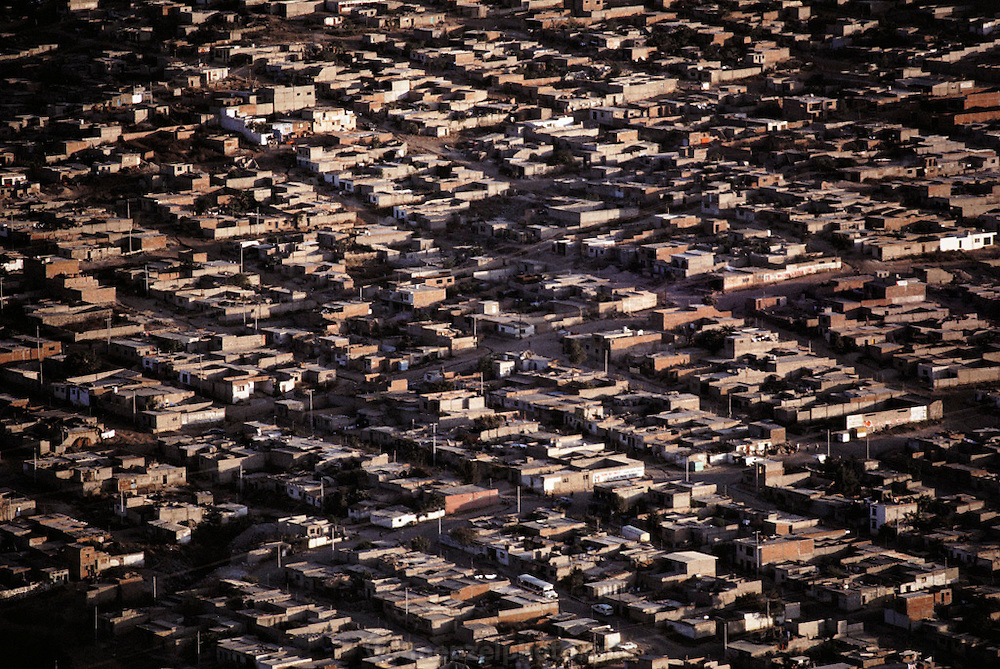 Aerial of a residential neighborhood in Guadalajara, Mexico.