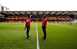Korey Smith and Bobby Reid of Bristol City take in the surroundings of Vicarage Road ahead of their Carabao Cup match against Watford - Mandatory by-line: Robbie Stephenson/JMP - 22/08/2017 - FOOTBALL - Vicarage Road - Watford, England - Watford v Bristol City - Carabao Cup