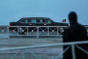 President Obama's motorcade arrives Havana, Cuba during a downpour.