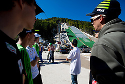 Jurij Tepes and Jure Sinkovec at media day of Slovenian Ski jumping team during construction of two new ski jumping hills HS 135 and HS 105, on September 18, 2012 in Planica, Slovenia. (Photo By Vid Ponikvar / Sportida)