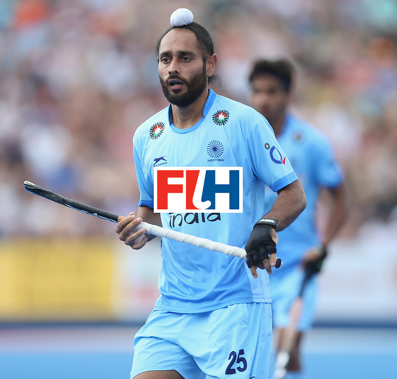 LONDON, ENGLAND - JUNE 17:  Satbir Singh of India during the Hero Hockey World League semi final match between Canada and India at Lee Valley Hockey and Tennis Centre on June 17, 2017 in London, England.  (Photo by Alex Morton/Getty Images)