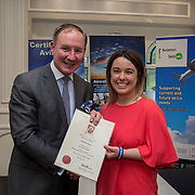 24.05.2018.       <br /> The Limerick Institute of Technology with Atlantic Air Adventures and funding from the Aviation Skillnet presented over forty certificates to Aviation professionals who have completed the Certificate in Aviation, The Aircraft Records Technician Level 7 and Part 21 Design, Level 7.<br /> <br /> Pictured at the event was Jim Gavin, The Irish Aviation Authority and Manager of the Dublin Football Team who presented, Elizabeth Byrne with their cert.<br /> <br /> LIT in partnership with Atlantic Air Adventures, CAE Parc Aviation, Part 21 Design and industry experts such as Anton Tams, GECAS, Don Salmon, CAE Parc Aviation and Mick Malone, Part 21 Design have developed and deliver these key training programmes with funding for aviation companies provided by The Aviation Skillnet.<br /> <br /> . Picture: Alan Place