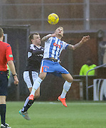 Kilmarnock&rsquo;s Kallum Higginbotham and Dundee&rsquo;s Paul McGowan  - Kilmarnock v Dundee, Ladbrokes Premiership at Rugby Park<br /> <br />  - &copy; David Young - www.davidyoungphoto.co.uk - email: davidyoungphoto@gmail.com