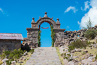 gateway at Taquile Island in the peruvian Andes at Puno Peru
