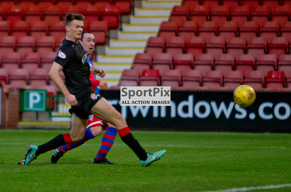 Dunfermline Athletic v Cowdenbeath SPFL League One Season 2015/16 East End Park 02 January 2016<br />  <br /> Michael Moffat makes it 1-0<br /> <br /> Dunfermline Athletic take on Cowdenbeath in League one, but also comemorate 20 years since the passing of DAFC player Norrie McCathie. Dunfermline and Cowdenbeath were the only two teams McCathie signed for and Dunfermline wear a replica of the strip Norrie last wore against St Mirren at Love Street in 1995. Cowdenbeath also wear a one off strip to comemorate the towns coal mining history. <br /> <br /> CRAIG BROWN | sportPix.org.uk