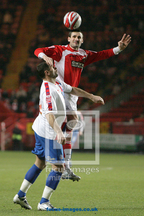 London - Tuesday December 27th, 2009: Matthew Spring (R) of Charlton Athletic in action against Shefki Kuqi of Crystal Palace during the Coca Cola Championship match, London. (Pic by Mark Chapman/Focus Images)