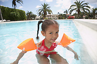 Girl (5-6 years) in swimming pool