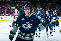 KELOWNA, CANADA - JANUARY 5: Dillon Hamaliuk #22 of the Seattle Thunderbirds skates to the bench to celebrate a first period goal against the Kelowna Rockets on January 5, 2017 at Prospera Place in Kelowna, British Columbia, Canada.  (Photo by Marissa Baecker/Shoot the Breeze)  *** Local Caption ***