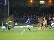 Peter MacDonald scores the opener for Dundee - Dundee v Dumbarton, SPFL Championship at Dens Park<br /> <br />  - &copy; David Young - www.davidyoungphoto.co.uk - email: davidyoungphoto@gmail.com