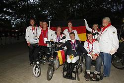 Fliegl, Bernhard;<br /> Zeibig, Steffen;<br /> Trabert, Angelika;<br /> Weifen, Lena;<br /> Brenner, Hannelore;<br /> Näpel, Britta;<br /> Bando, Britta, <br /> London Paralympics 2012<br /> Siegerehrung Garde III + Garde 1a<br /> © www.sportfotos-lafrentz.de/ Stefan Lafrentz