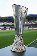 The Europa League Trophy before the UEFA Europa League Quarter-final, Game 1 match between Anderlecht and Manchester United at Constant Vanden Stock Stadium, Anderlecht, Belgium on 13 April 2017. Photo by Phil Duncan.