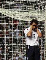 Photo: Paul Thomas.<br /> England v Macedonia. UEFA European Championships 2008 Qualifying. 07/10/2006.<br /> <br /> Gary Neville of England can't believe he missed the goal.