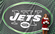 Dec 24, 2017; East Rutherford, NJ, USA; New York Jets flight crew cheerleader in Christmas costume reacts during an NFL football game against the Los Angeles Chargers at MetLife Stadium.