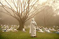 On weekends there is a retreat at Sathira-Dhammasathan. People in their early twenties, mostly women, come from all over Thailand to seek spiritual development. In the early morning a third senior nun is giving a yoga class...Photographer: Elin Berge / MOMENT