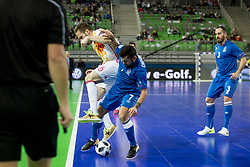 Solano of Spain and Ramiz Chovdarov of Azerbaijan during futsal match between National teams of Ukraine and Portugal at Day 6 of UEFA Futsal EURO 2018, on February 4, 2018 in Arena Stozice, Ljubljana, Slovenia. Photo by Urban Urbanc / Sportida