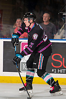 KELOWNA, BC - SEPTEMBER 21:  Jake Lee #21 of the Kelowna Rockets takes a slap shot from the point against the Spokane Chiefs  at Prospera Place on September 21, 2019 in Kelowna, Canada. (Photo by Marissa Baecker/Shoot the Breeze)