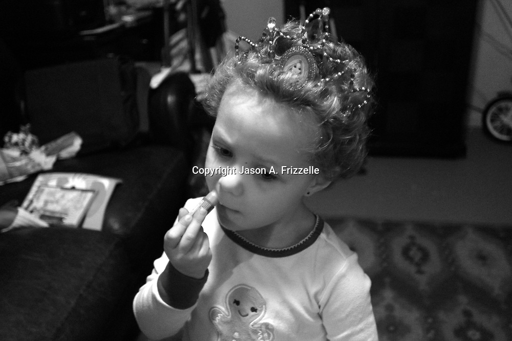 On December 27, 2012 two year old Holly Larue Frizzelle was diagnosed with Acute Lymphoblastic Leukemia. What began as a stomach ache and visit to her regular pediatrician led to a hospital admission, transport to the University of North Carolina Children's Hospital, and more than two years of treatment. Holly Larue Frizzelle, 3, is pictures on Christmas morning 2013.