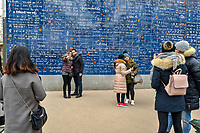 The Wall of Love is a love-themed wall of 40 square metres in the Jehan-Rictus garden square in Montmartre, Paris, France. <br /> The wall was created in 2000 by calligraphist Frederic Baron and mural artist Claire Kito and is composed of 612 tiles of enamelled lava, on which the phrase 'I love you' is featured 311 times in 250 languages, includes in all major languages, but also in rarer ones like Navajo, Inuit, Bambara and Esperanto.<br /> The wall is open to public free of charge.